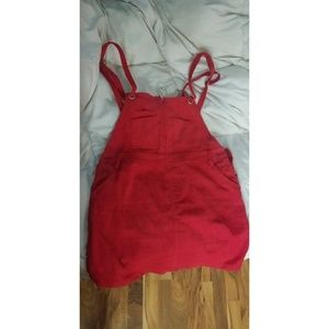 Red Overall Dress